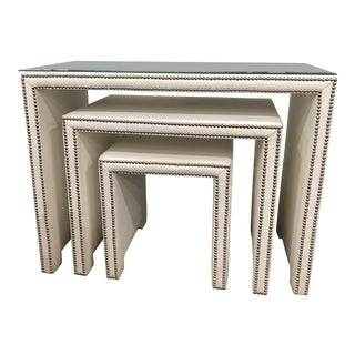 Transtitional Leather Nesting Tables - Set of 3 For Sale