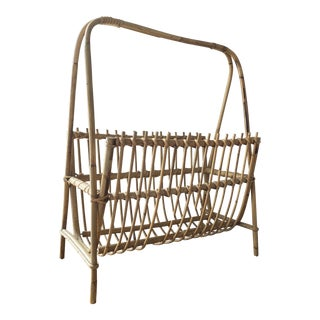 Mid Century Franco Albini Style Rattan Bamboo Magazine Rack For Sale