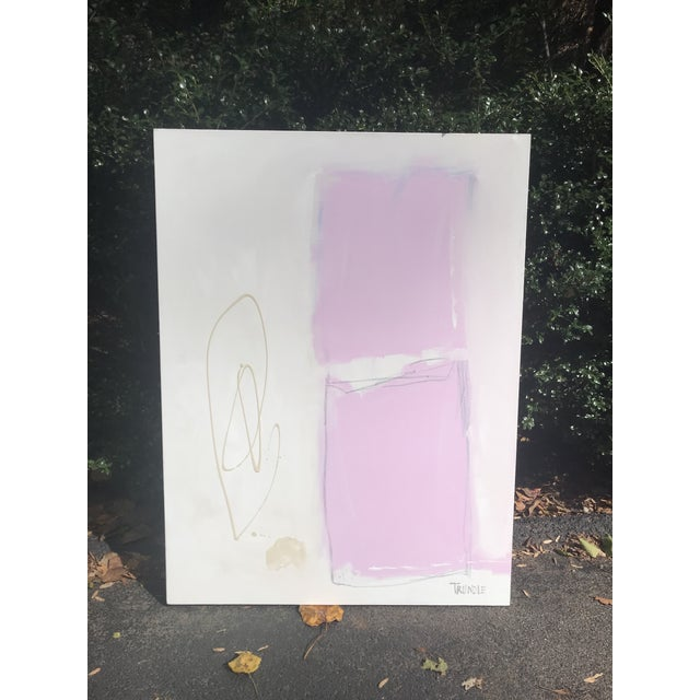Shapes in Pink Contemporary Painting For Sale - Image 6 of 7