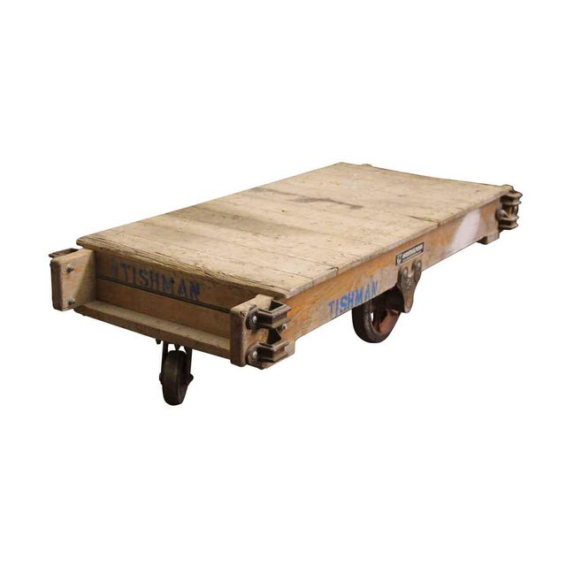Industrial light wood tone factory cart with Hamilton caster wheels. Please inquire a price to refinish and seal the top....