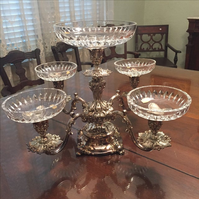 Reed & Barton Silver-Plate Epergne Crystal Liners - Image 2 of 7