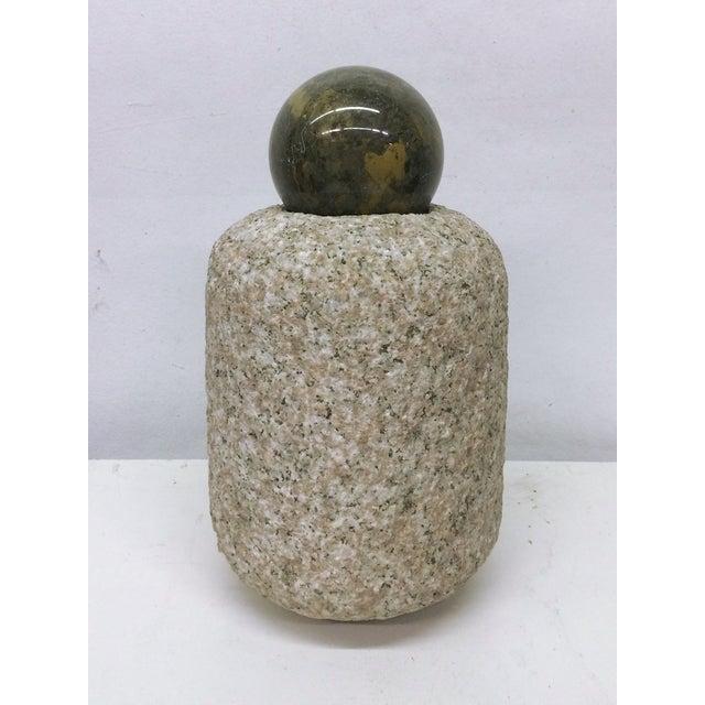 Cylindrical Stone Vase Marble Ball Sculpture Chairish