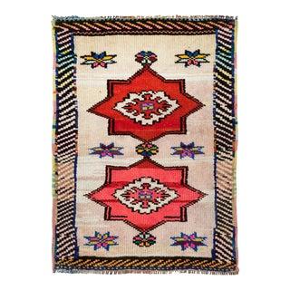 Naqshi 2x3 Antique Eastern Turkey Neon Colors Vintage Area Rug For Sale
