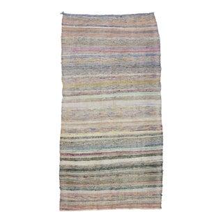 """Vintage Striped Rag Rug - 5'3"""" x 10'2"""" For Sale"""