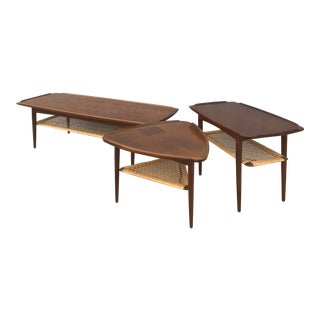 1960s Mid-Century Modern Poul Jensen for Selig Coffee Table and Side Tables - Set of 3 For Sale