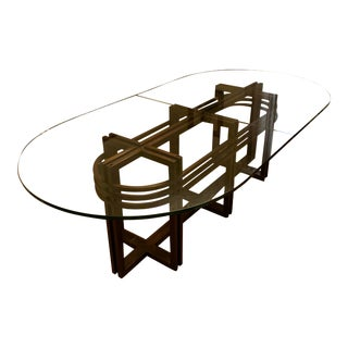 Agati Glass Top Bent Mahogany Base Table For Sale