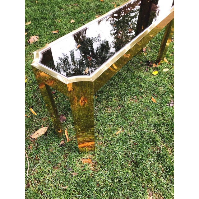 1970s 1970's Baughman Style Brass and Smoked Glass Console Table For Sale - Image 5 of 10