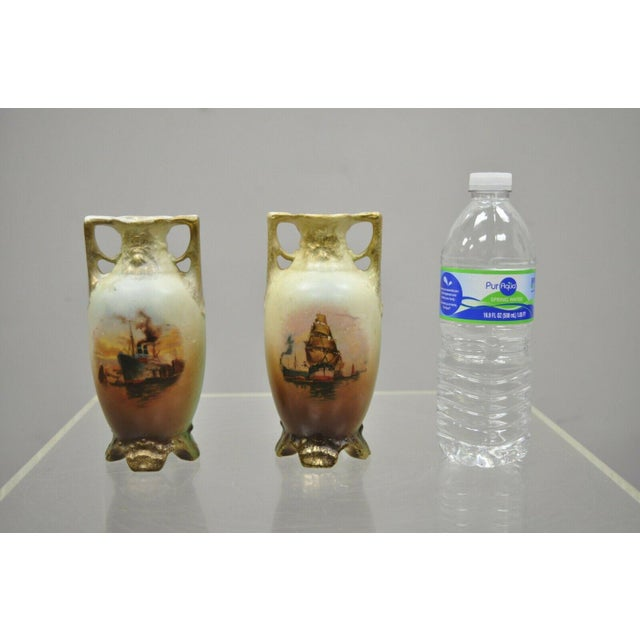 Antique Nippon Style Japan Clipper Ship Bud Vases - a Pair For Sale - Image 12 of 13