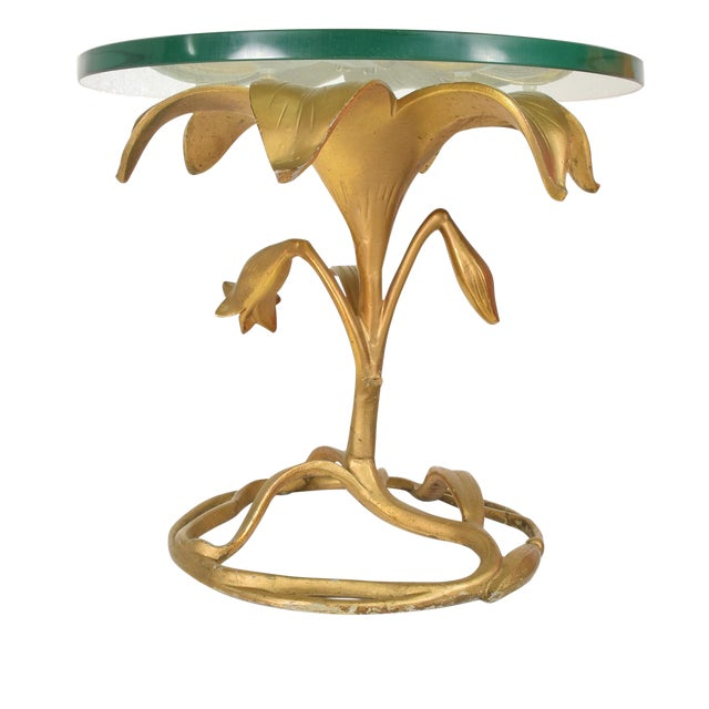Hollywood Regency Side Aluminum Table by Arthur Court, Gilded Lily For Sale