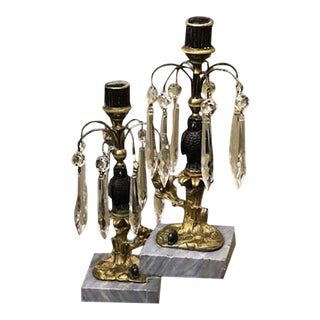19th Century French Bronze Hawk & Crystal Candle Holders - a Pair For Sale