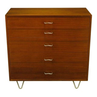 George Nelson Mahogany Five-Drawer Tall Chest For Sale