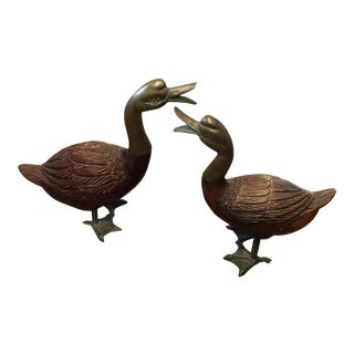 Wood and Brass Ducks - a Pair For Sale