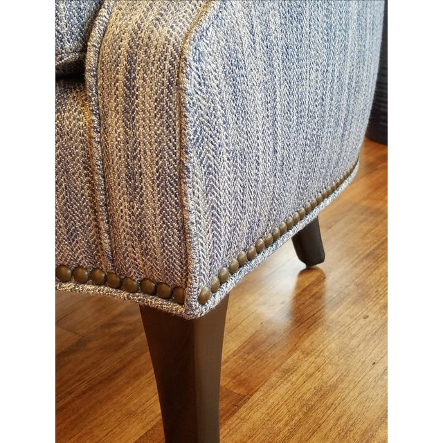 Tight Back Arm Chair in Blue & Grey Fabric - Image 5 of 7