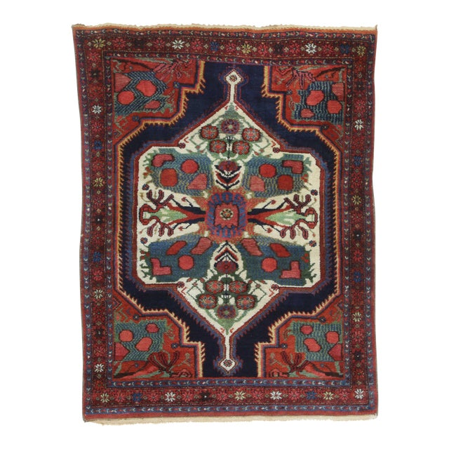 Antique Hand Knotted Wool Persian Baktiari - 4′5″ × 5′11″ For Sale