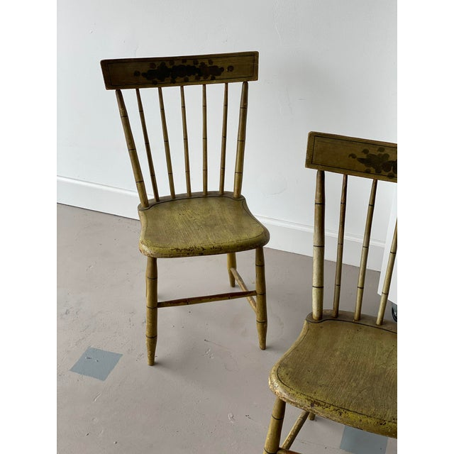 American Early 20th Century Faux Bamboo Spindle Back Chairs - a Pair For Sale - Image 3 of 6