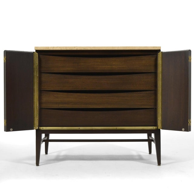 Mahogany Paul McCobb Cabinets/ Credenzas with TravertineTops by Calvin For Sale - Image 7 of 11