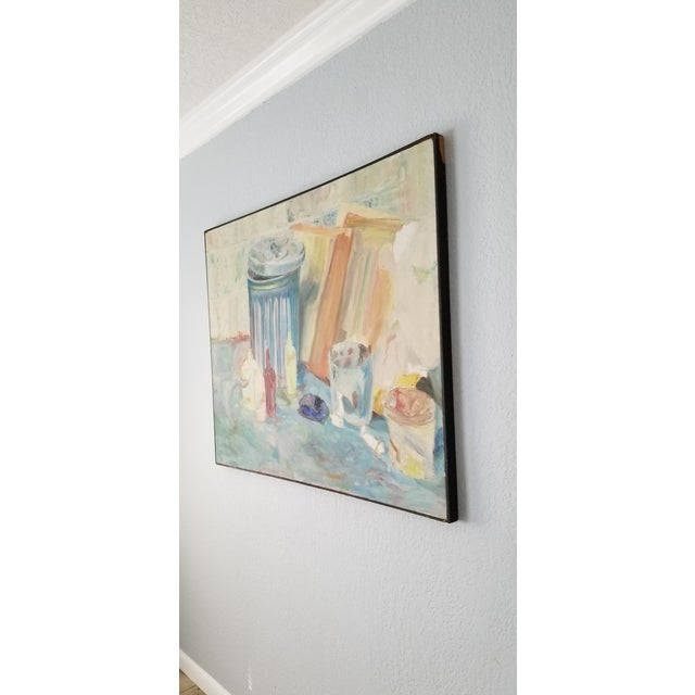 1970's John Purcell Abstract Still Life Oil on Canvas Painting, Framed For Sale - Image 4 of 12