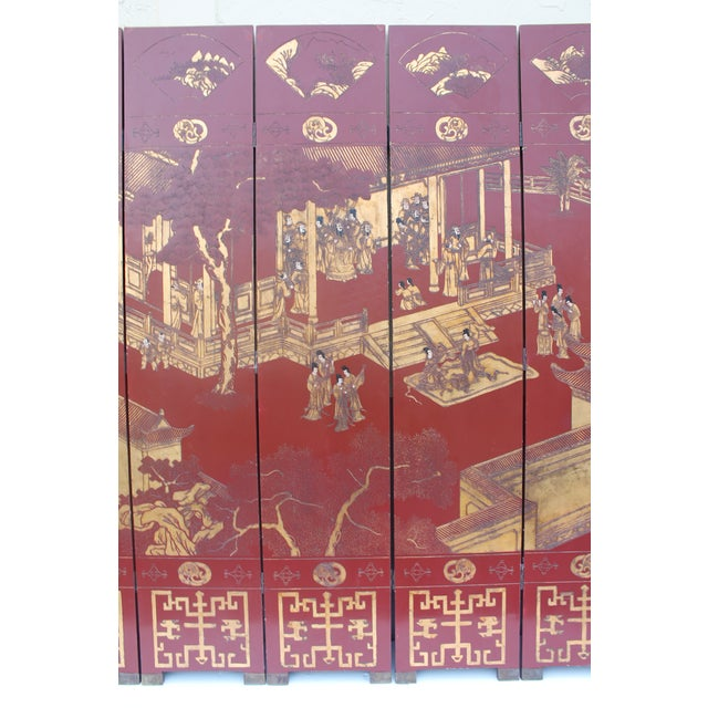 Antique Traditional 8-Panel Red & 24k Gold Asian Screen For Sale - Image 5 of 11