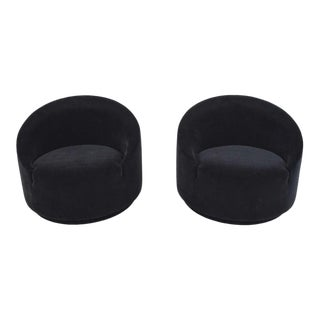 Mid Century Modern Swivel Tub Chairs in Black Mohair- A Pair For Sale