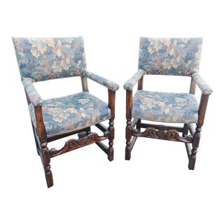 William & Mary Style Carved Oak Armchairs-a Pair For Sale
