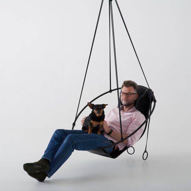 Black Sling Hanging Chair - Black Leather For Sale - Image 8 of 9