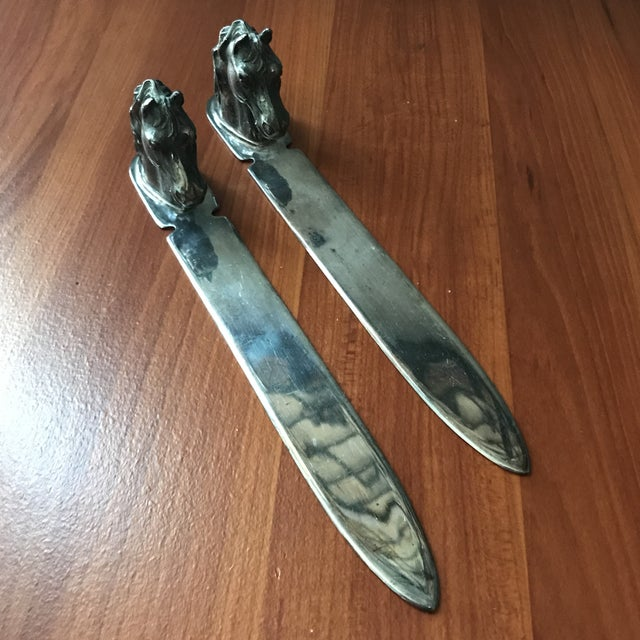 Vintage Reed & Barton Silverplate Horse Head Letter Openers - a Pair For Sale - Image 9 of 9