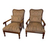Image of Ralph Lauren Library Club Chairs With Leather, Wood and Fabric - Pair For Sale
