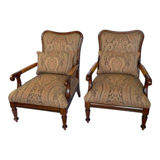 Ralph Lauren Library Club Chairs With Leather, Wood and Fabric - Pair For Sale