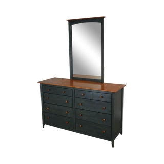 Shaker Style Blue & Maple Dresser With Mirror by Nadeau For Sale