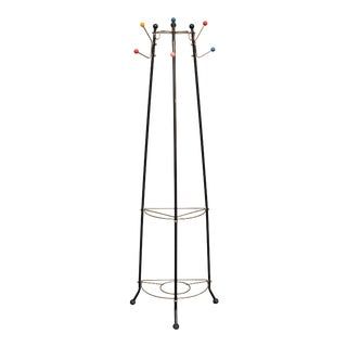 1950s Mid Century Modern Black Metal Tripod Coat Rack Stand with Shelves For Sale