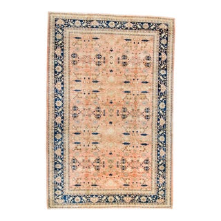 """1990s Vintage Oushak Allover Salmon Navy Hand-Knotted Rug - 12' X 18'1"""" For Sale"""