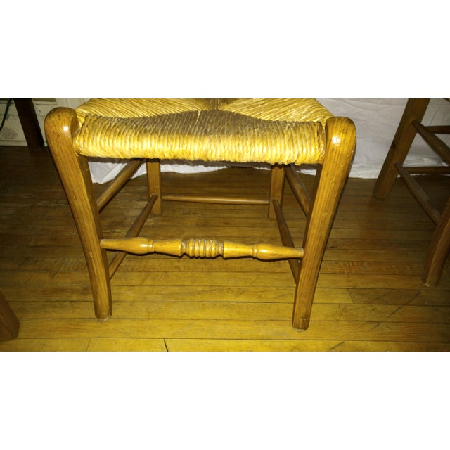 1970s French Country Hand Carved Rush Seat Chairs - Set of 4 For Sale - Image 12 of 13