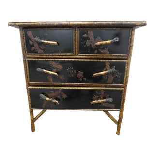 Superb 19th C Victorian Chinoiserie Japanned Bamboo 4 Drawer Chest For Sale