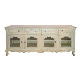 Vintage Low French Country Style White Carved and Painted Sideboard For Sale