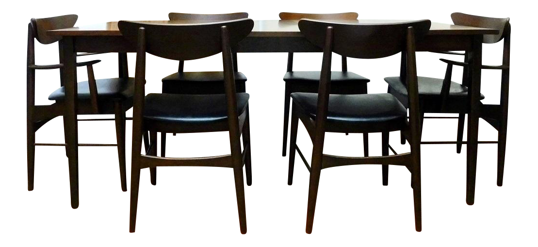 Mid Century Modern Paul McCobb Stanley Danish Walnut Table U0026 6 Curved Back  Chairs