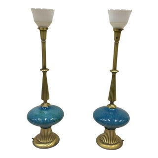 Vintage Rembrandt Hollywood Regency Table Lamps Teal - a Pair For Sale
