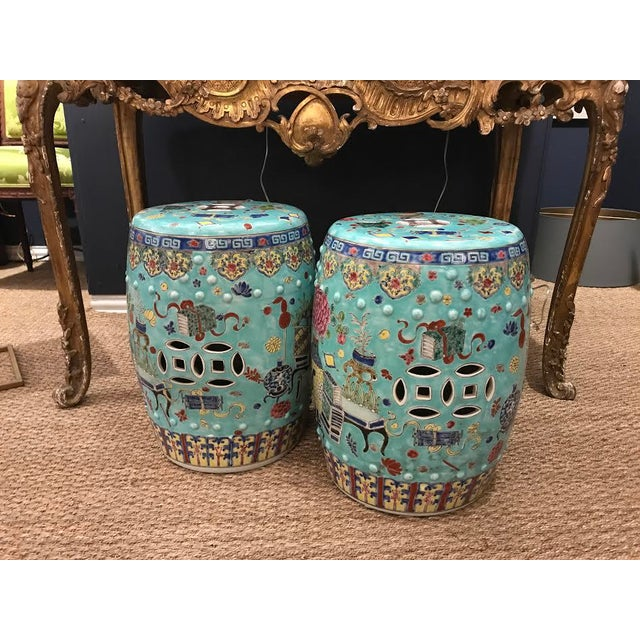 Chinese Medallion Seats or Side Tables - a Pair For Sale - Image 5 of 9