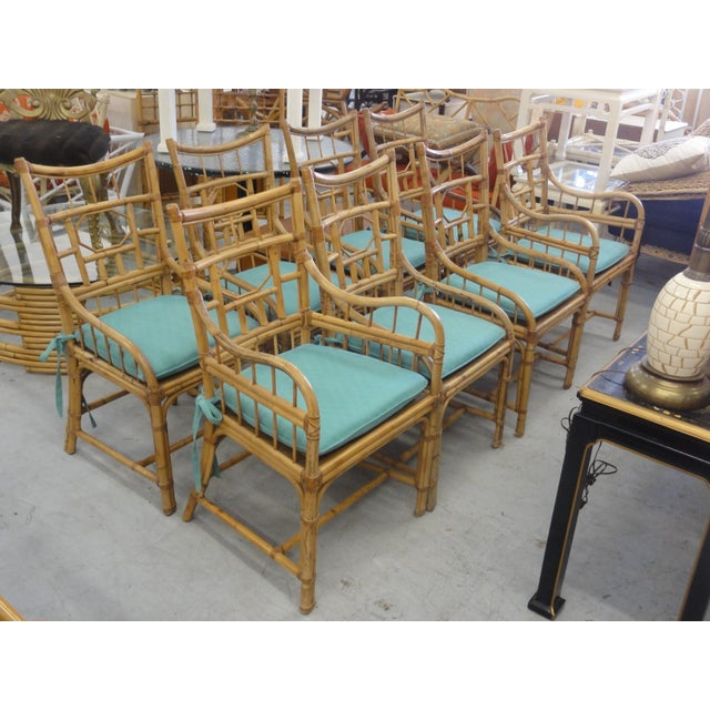 Vintage Geometric Bamboo & Cane Dining Chairs - Set of 8 For Sale - Image 12 of 12