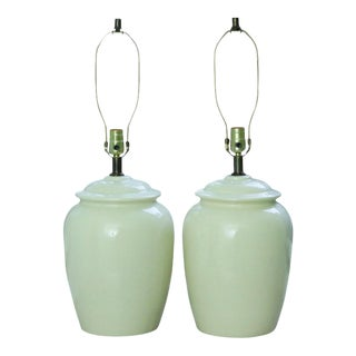 Mid Century Cream Ceramic Lamps - A Pair