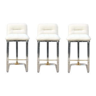 Lion in Frost Bar Stools Set of 3 For Sale