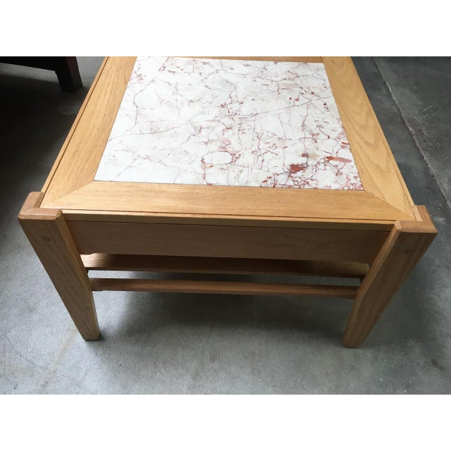 Abstract Studio Solid Oak & Pink Marble Insert Coffee Table For Sale - Image 3 of 9