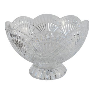 Scalloped Edge Glass Serving Bowl For Sale
