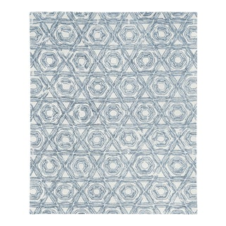 Exquisite Rugs Melbourne Hand Loom Wool & Cotton Dark Blue - 10'x14' For Sale