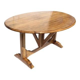 European Drop Leaf Gate Leg or Trestle Dining Table For Sale