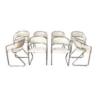 Vintage Mid-Century Modern Italian Leather Chrome Lowenstein Rinaldi-Style Dining Chairs - Set of 8 For Sale
