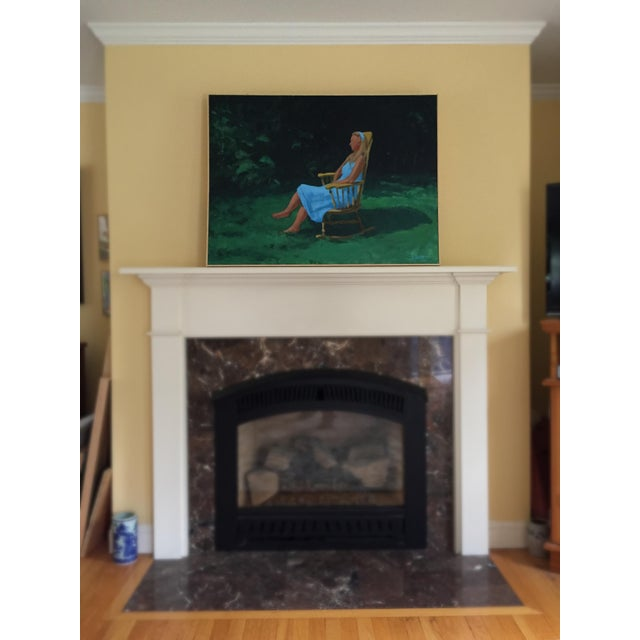 Painting of a Woman Sitting in a Rocking Chair Outside For Sale - Image 11 of 12