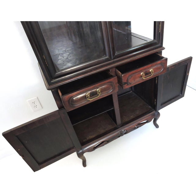 Early 20th Century Antique Chinese Blackwood Display China Cabinet/Cupboard/Hutch For Sale - Image 5 of 7