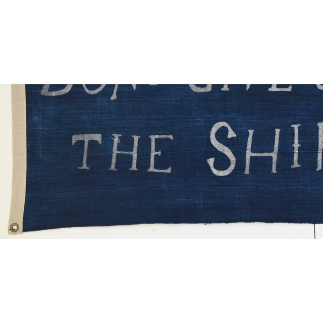 "Boho Chic Nautical Themed Indigo Blue/White African Textile Flag 35"" X 21"" For Sale In Los Angeles - Image 6 of 10"