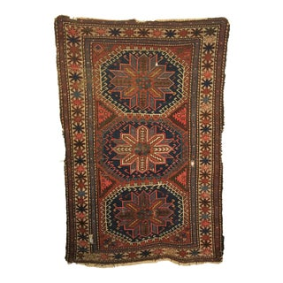 Late 19th Century Antique Caucasian Shirvan Distressed Rug 3'4 X 5'0 For Sale