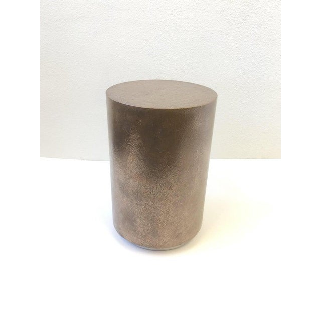Metal 1980s Bronze and Chrome Drum Table by Steve Chase For Sale - Image 7 of 8
